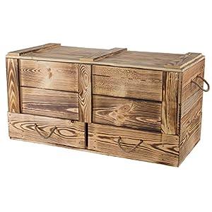 Vintage Möbel 24 GmbH 1x Traumhaft rustikale Holztruhe mit Schubladen & Deckel, Zwei seitliche Kordeln, auch als Couchtisch/zum Sitzen, neu, 85,5x42x43,5cm