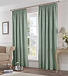 "Damask Jacquard Duck Egg Blue Lined 46"" X 54"" - 117cm X 137cm Pencil Pleat Curtains from Curtains"