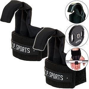 C.P.Sports Profi-Klimmzughaken T17 – Power Lifting Hooks/Latzughilfen schwarz mit Klettverschlüssen