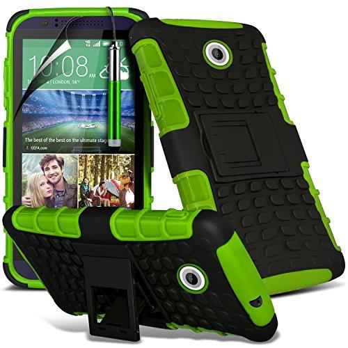 Htc Screen Protector 510 ((Grün) HTC Desire 510 hülle Hochwertige starke und haltbare Survivor Hard robuste Stoßfest Heavy Duty bei zurück Stand Skin Case Cover& Screen Protector von i-Tronixs)