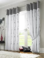 """Silver Grey White Floral Rose Trail Lined Voile 56"""" X 54"""" - 142cm X 137cm Ring Top Curtains & Tiebacks from Curtains"""