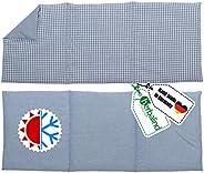 HERBALIND 3-Kammer Wärmekissen Körnerkissen Schulter Nacken 50x20 cm in Karo/blau - 100% Baumwolle - Getreidek