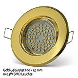 6x Lu-Mi® Einbaustrahler GU10 LED 3W SMD Warmweiß 230V, Einbaurahmen mit GU10 Fassung (Gold gebürstet - SD201)