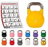 POWRX Kettlebell Professionnelle de 4 kg à 28 kg - Kettlebell de compétition (16 kg/Jaune)