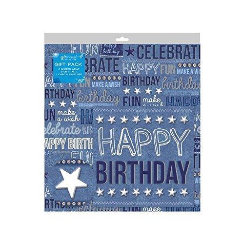 2 Feuilles de Jean Bleu Anniversaire Papier Cadeau D'emballage ,Carte & 2 Étiquettes Cadeau
