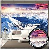 Murale panoramique d'Alpes décoration de peinture murale d'hiver de neige et de coucher du soleil Paysage de montagnes montagne de glace | murale photo mur deco chez GREAT ART (336 x 238 cm)