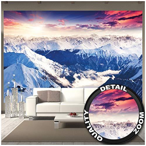 GREAT ART Fototapete - Alpen Panorama - Wandbild Dekoration Winter Sonnenuntergang Schnee Landschaft Natur Berge Gletscher Gebirge Gipfel Foto-Tapete Wandtapete (336 x 238 cm)