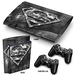 PS3 Super Slim Playstation Haut-, PVC für Konsole + 2 Controller / Pads Aufkleber-Schutz-Abdeckung Art Leather Effect…