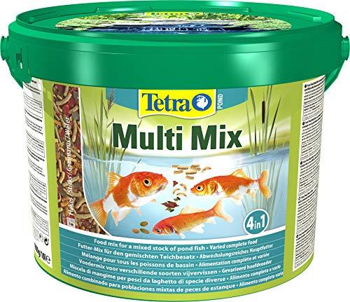 Tetra Pond Multi Mix - Fischfutter für Teichfische mit vier verschiedenen Futtersorten (Flockenfutter, Futtersticks, Gammarus, Wafer), verschiedene Größen