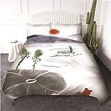 LIGAHUI bettwäsche Tuschmalerei Muster Bettbezug Set 3 teilig microfaser Bettwäsche mit Reißverschluss 140x200cm