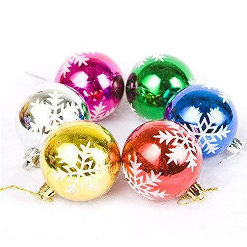 ruikey 6Weihnachtskugeln Christbaumkugeln Kugeln Ornaments mit Schneeflocke Xmas Tree Kunststoff Aufhängen Anhängern für Urlaub Party Dekoration, plastik, bunt, 6cm