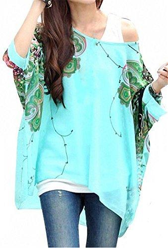 Blumen Chiffon Bluse - Landove Fledermaus Shirt Damen 3 4 arm Bohemian Boho Hippie Damebluse Tunika T Shirt Sommer Oberteil Große Größen (1x Bluse)