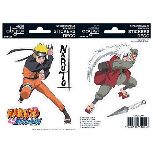 Abystyle Naruto - Juego de pegatinas (6,4 x 4,4) con diseño de Naruto y Jiraiya