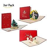 Weihnachtskarten Set mit Umschlag, Geschenkkarten, edel, klassisch, christlich, 3D Pop-Up, Merry Christmas, Tannenbaum, Sterntaler, Santa trifft Schneemann, Set 5