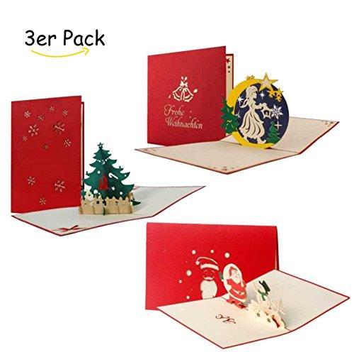 Set biglietti auguri natalizi, cartoline auguri portasoldi buoni regalo con figure 3d a comparsa, fatti a mano, perfetti come decorazioni natalizie, buste incluse, confezione da 3