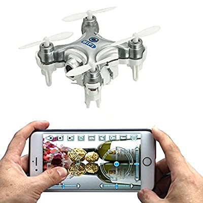 AICase® Cheerson CX-10W 4CH 2.4GHz iOS / Android APP Wifi Romote Control RC FPV Real Time Video Mini Quadcopter Helicopter Drone UFO with 0.3MP HD Camera, 6 Axis Gyro - Silver from Cheerson