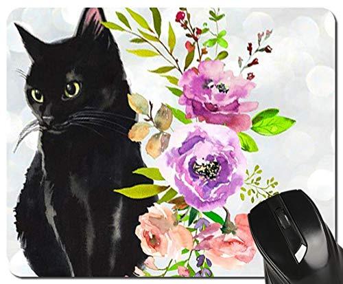Schwarze Katze Blumen Aquarell Mauspad süße Katze Liebhaber Geschenk Schreibtisch Accessoires Dekor für Frauen Computer Maus pad Schulmaterial