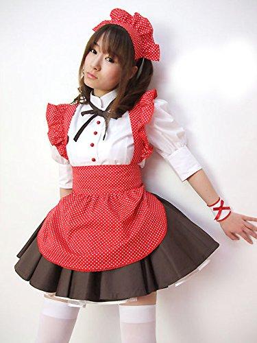 Ninja Kostüm Hot (DLucc Niedliche Polka-Punkt Dienstmädchen-Outfit Skynet Music Japan Hot Biermädchen)