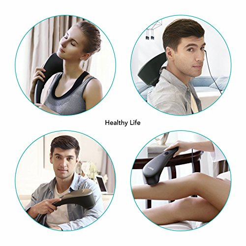 Naipo Handheld Massage with Heat Deep Tissue Percussion Massager Interchangeable Nodes and Wide-range Speed Neck Shoulder Back Body Pain Relief