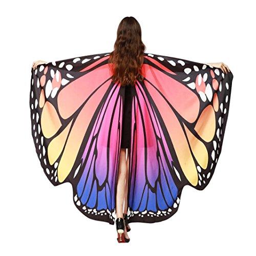FNKDOR Fasching Kostüm Schmetterling Damen Mädchen Flügel Fee Nymphe Elfen Flügel (168*135CM, Rosa-A)
