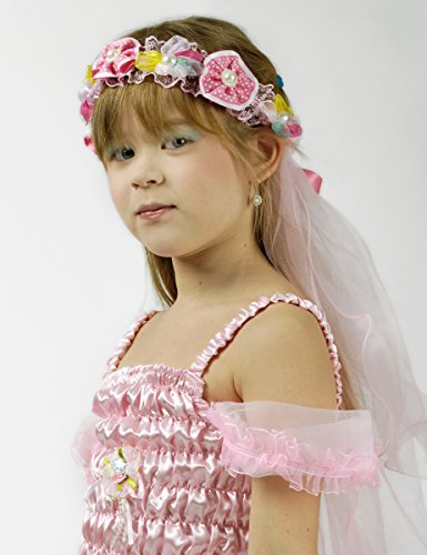 Blumenkranz mit Schleier für Mädchen - Rosa - -