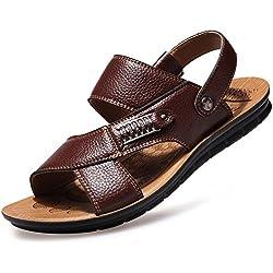 CUSTOME Hombres Playa Zapatos Sandalias de Ocio Zapatilla de Cuero