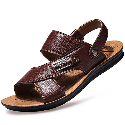 CANRO Men's Beach Shoes Leisure Pull on Sandals Leather Sandals Brown 8...