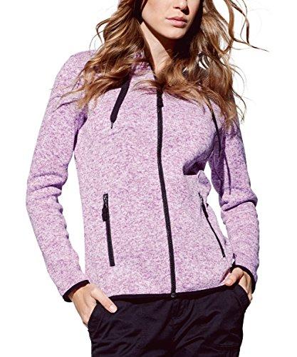 Strickfleece-Jacke mit Kapuze für Damen, für Sport, Freizeit & Wandern, Premium Qualität von Stedman® Active Outdoor, Purple Melange, Gr. XL