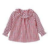 Camiseta de algodón con mangas largas para niñas, cuadros, camisetas de cuadros, blusas, ropa (18 Meses, rojo)