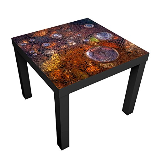 Bilderwelten Design Table - Winter In Autumn - Table 55x55x45cm coffee table side end table, Table Colour: Table Black, Dimensions: 55 x 55 x 45cm