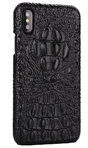 iPhone 8 Hülle ,VENTER® Luxus 3D Krokodil Korn Haut Textur Echt Leder Stoßstange Fall Shockproof Hard Back Cover für iPhone 8 schwarz