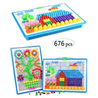 Upworld Mushroom Nails Pegboard Educational Colourful Jigsaw Puzzle Building Blocks Bricks Creative DIY Mosaic Toys for Kids & Toddlers, Perfect Birthday for Girls Boys Age 3-8 years