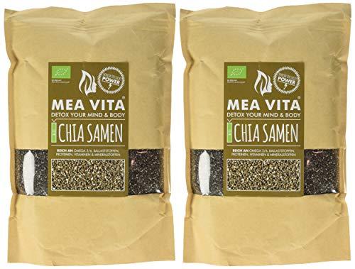 MeaVita Bio Chia Samen, 2er Pack (2 x 1000g) im Papierbeutel