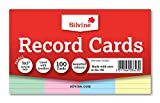 Silvine record cards 127x77mm ruled pack of 100 in assorted colours Bild