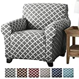 Brenna Collection Basic Strapless Slipcover. Form Fit, Slip Resistant, Furniture Shield/Protector Featuring Lightweight Twill Fabric. by Home Fashion Designs Brand. (Chair, Charcoal)