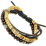 Multi-Strand Coco Heishi / Wood & Cord Wristband Bracelet - 216
