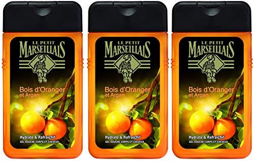 Le Petit Marseillais Gel Douche Homme Corps et Cheveux Bois D'oranger & Argan Flacon 250 ml - Lot de 3