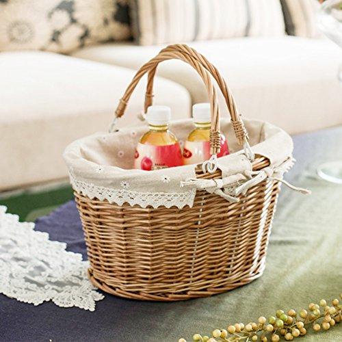 Hete-supply tragbarer Aufbewahrungskorb, mit Korb Easter Basket Korb Weidengeflecht mit Picknick-Korb, rechteckig/oval, Korb mit doppelt faltbar mit Stoff-Innenfutter