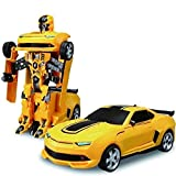 #4: Babytintin Robot Races Car Toy (Battery Operated) 2 in 1 Transform Car Toy with Bright Lights and Music,Multi Color.