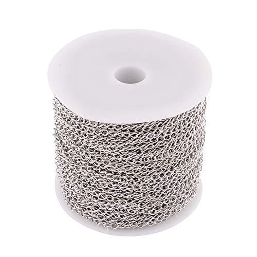 Pandahall 25m 304 catene in acciaio inossidabile di collegamento saldato a 4 x 3mm cordoli in acciaio inossidabile collana a catena placcato per la produzione di gioielli