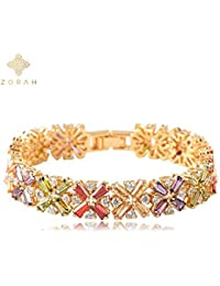 Zorah Gold Plated Flower Pattern Bracelet For Women And Girls Embellished With Multicolor Genuine AAA Cubic Zirconia...