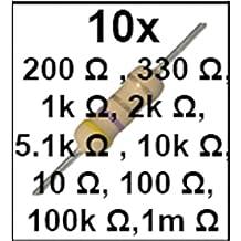 Pack 100 resistors resistencias 200, 330 1k 2k 5.1K 10K 10 100 100K
