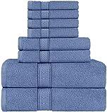 Utopia Towels - Set di asciugamani a 8 pezzi; 2 asciugamani da bagno, 2 asciugamani e 4 salviette (blu)