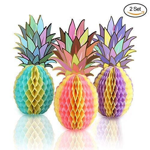 (Aytai 6pcs Mehrfarbig Papier Ananas-Bienenwaben für tropische Hochzeits-Dekorationen, hawaiische Luau Party Tabelle Lieferungen)