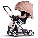 ZXLDP Kinderwägen Spaziergänger können sitzen Lie Down Light Portable Fold Vier Jahreszeiten Universal Baby Kinderwagen Sommer Neugeborenen und Junge Kinder 0-3 Jahre alt Prams ( Farbe : Khaki )