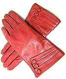 Damen NEU super weich Premium Echt Leder Handschuhe Vollständig gefüttert Winter Alltag verschiedene Farben - Rot, L