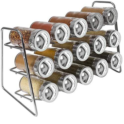 Sorbus Gewürzständer mit 15 Glasflaschen Gewürzgläsern, tolles Gewürzregal für Arbeitsplatten, Schrank, Küche, Esszimmer, Speisekammer, Aufbewahrung (Chrom) (Schrank Speisekammer Küche)