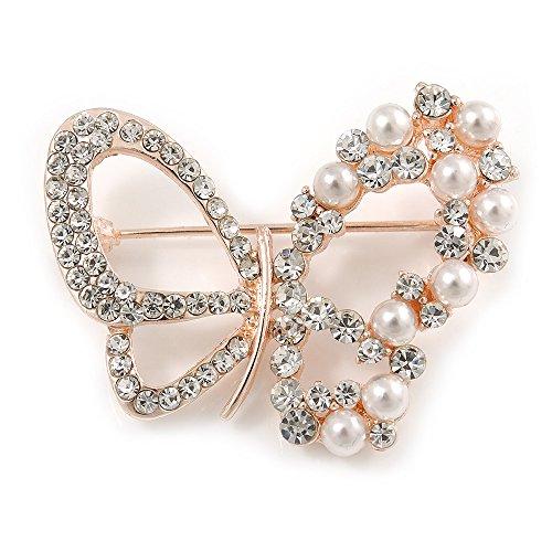 Unbekannt Silberton Exquisite Kristall, Faux Perle Bead Schmetterling Brosche in Rose Gold Metall-40mm über