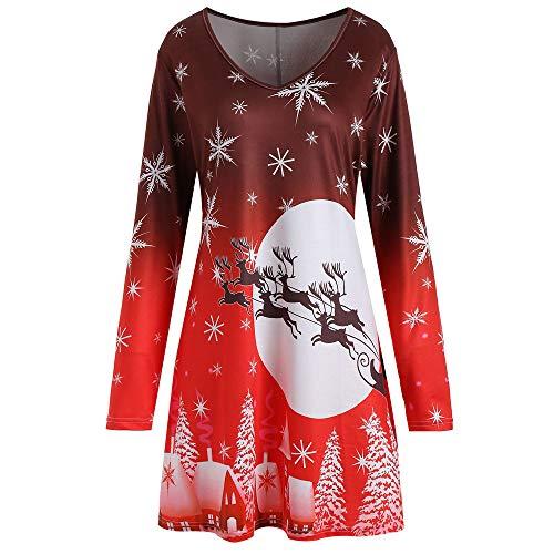 MRULIC Damen Weihnachten Blusenkleid Santa Printing Vintage Langarm Rundkragen Party Kleid Frauen...