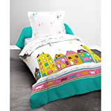 Today 015974Happy Nacht Katze Bettwäsche mit Bettbezug/Kissenbezug Baumwolle blau/rosa/gelb 140x 200cm